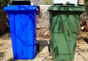 green and blue 240 lire weelie bins